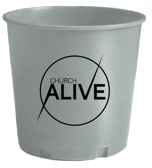 Silver Printed Offering Bucket With Logo