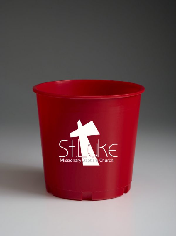 Dark Red Offering Bucket With Ministry Logo