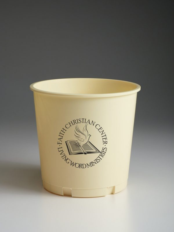 Creme Offering Bucket with Black Printed Logo