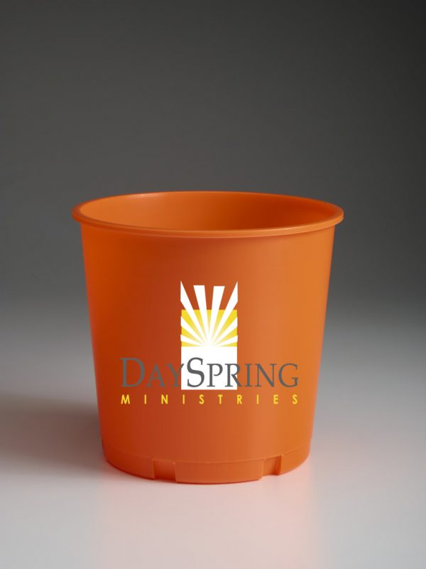 Orange Offering Bucket with Ministry Logo