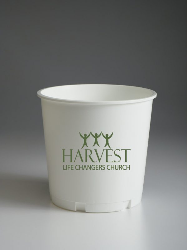 White Offering Bucket With Church Logo