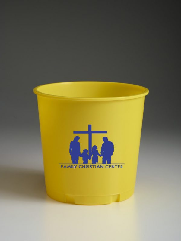 Yellow Offering Bucket With Church Logo